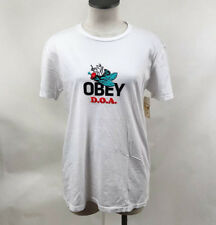 Obey Women's T-Shirt Dead on Arrival Optic White Size S NWT Shepard Fairey Fly