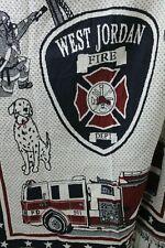 West Jordan Fire Department Tapestry Blanket Fringe Fire Truck US Flag Fireman