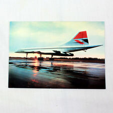 Británico Airways Concorde Puesta De Sol Avión Tarjeta Postal Bueno Calidad