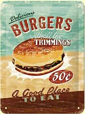 Burgers Retro USA American Diner Cafe Food Kitchen Large 3D Metal Embossed Sign