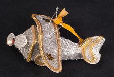 Vtg 50's Christmas Airplane Silver & Gold Fringe Ornament JAPAN