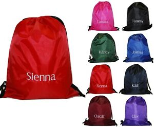 Personalised School Sports Gym PE Drawstring Bag Embroidered Name