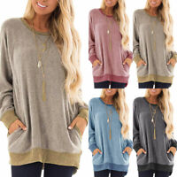 Women's Autumn Long Sleeve Crew Neck Pullover Blouse T Shirt Casual Pocket Tops