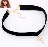 Retro Gothic Velvet Women Choker Gold Cross Charm Pendant Necklace Boho Handmade