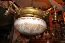 Antique Victorian Art Deco 4 Light Ceiling Chandelier-White Glass Globe-Gold