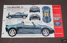 1996-1998 LOTUS ELISE Car SPEC SHEET BROCHURE PHOTO BOOKLET