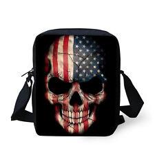 Cool Skull Print Messenger Purse Boys Mens Shoulder Sling Bag Cross Body Handbag