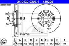 2x Bremsscheibe für Bremsanlage Vorderachse ATE 24.0130-0206.1