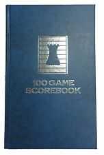HARDCOVER CHESS SCORE-BOOK - MARBLE BLUE - 100 GAMES - MADE IN USA