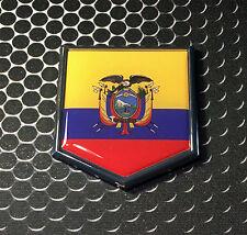 """Ecuador Flag Domed CHROME Emblem Proud Flag Car 3D Sticker 2""""x 2.25"""""""