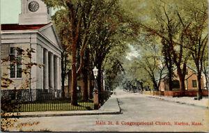Vtg 1910 Main Street & Congregational Church Marion Massachusetts MA Postcard