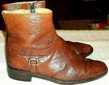 60s Go-Go Fab Brown Leather~England Booties W/Zip & Amazing Design 41.5 Eu
