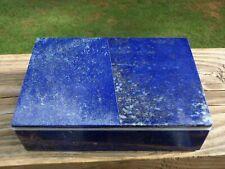 "Vintage Lapis Lazuli Stone Marble Inlaid Rectangular 5.75"" TRINKET JEWELRY BOX"