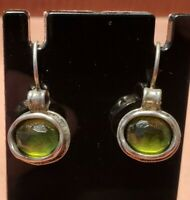 SILPADA Sterling Silver Bezel Set Green Peridot Gemstone Drop Dangle Earrings