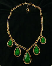 Amrita Singh Evergreen Statement Necklace Gold Tone Faceted Green Signed 27""