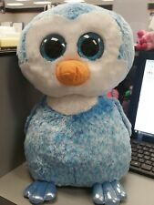"""Ty Beanie Boos JUMBO 16"""" ICE CUBE the PENGUIN Justice Excl Glitter Eyes HTF"""