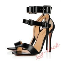 Plus size Womens Open Toe Shoes Prom Sadnals Slim High Heels Buckle Strap Pumps