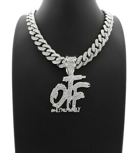"Hip Hop Only The Family OTF & 18"" Full Iced Cuban Link Choker Chain Necklace"