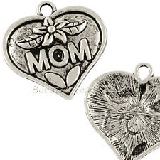 Big 1 1/4 inch Antique Silver Mom Heart Pendant Charm with Flower Plated Pewter