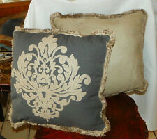 Pair of Gray Beige Fringed Decorative Throw PIllows  17 x 17