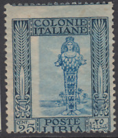 Italy Libia - Sassone n. 49f VARIETY SHIFTED CENTER MH* cv 180$ Letters in Wmk