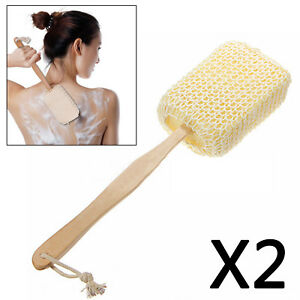 Wooden Handle Body Massage Sponge Shower Bath Loofah Back Scrubber Spa Sisal AU