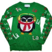 Ugly Christmas Sweater Green Womens Cute Penguin Long Sleeve Sweater Size Small