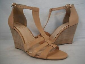 Jessica Simpson 10 M McCorde Nude Leather Open Toe Wedges New Womens Shoes NWOB