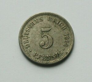 1914 A GERMANY (Empire) Coin - 5 Pfennig - toned
