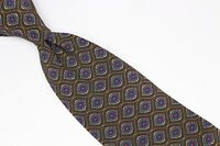 MCM Mode Creation Munich Silk Neck Tie Brown Blue Gold Green Paisley Print Used