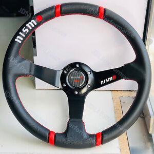 14'' Deep Dish Nismo PVC Leather Drift Racing 4 Red Ring Sport Steering Wheel