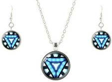 Marvel's Ironman Glass Domed Pendant Necklace, Earring Jewelry Set