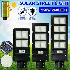 150W LED Solar Street Light IP67 Dusk to Dawn PIR Outdoor Commercial Sensor Lamp