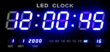 Große LED Uhr Wanduhr Datum Temperatur Anzeige Digital Datum Bar Café Blau 4622