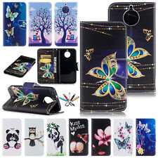 For Motorola Moto G6/G5 Painted Leather Flip Case Magnet Card Wallet Stand Cover