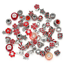 10pcs Mixed Red Crystal Glass Beads, Crystal Alloy BEADS For Charm Bracelet