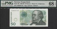 TT PK 46c 2003-08 NORWAY NORGES BANK 50 KRONER PMG 68 EPQ SUPERB GEM NONE FINER!