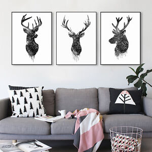 Nordic Art Watercolor Deer Antlers Minimalism Canvas Poster Room Wall Decoration