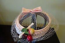 Vintage Easter Bonnet Pink Hat Netting Bow Millenary Cherries Jackie Kennedy
