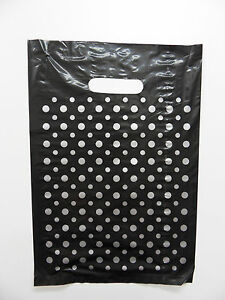 """Small size POLKA DOT PLASTIC CARRIER BAGS 10"""" x 15"""" PACK 50"""