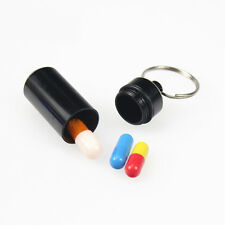 Practical Mini Emergency Pill Box Case Bottle Holder Container Keychain Keyring]