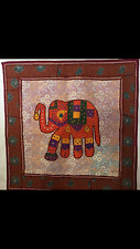 "INDIAN ELEPHANT HAND MADE PATCH WORK EMBROIDERED WALL HANGING 30"" X 30"" ONE ONLY"