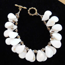 NEW Mother of Pearl Double Row Shell, Gold & Crystal Statement Bracelet~Handmade