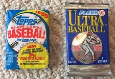 Lot of 2 Sports Cards 1991,1989 Topps Baseball Wax Pack Factory Sealed Unopened