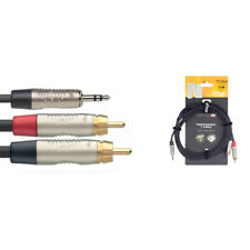 Stagg NYC3/MPS2CMR 3m/10ft Balanced Mini Jack to Twin RCA Phono Cable (NEW)