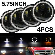 """4pcs 5.75 5 3/4"""" LED Headlights Halo Black For Ford Buick GMC Chevy Pickup Truck"""