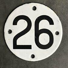 HOME GARAGE SHOP GATE ENAMEL NUMBER 26 PLATE SIGN