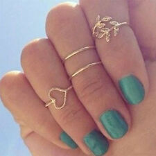 4x Lovely Gold Tone Rings Set Crystal Leaf Knuckle Fashion Band Midi Ring Be2k