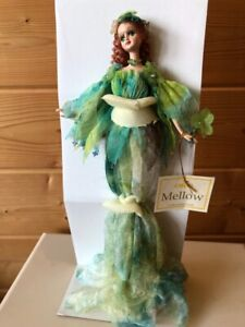 """Show Stoppers MELLOW Fairy with Flower Green Doll 12"""" Stands A112"""