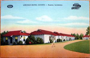 1949 Ruston, Louisiana Linen Postcard: Lincoln Hotel Courts/Motel - LA
